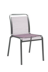 Stacking chair Oskar aluminum graphite with rope lilac