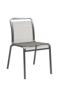 Stacking chair Oskar aluminum graphite with rope sand