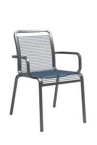 Stacking armchair Oskar aluminum graphite with rope jeans