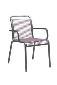 Stacking armchair Oskar aluminum graphite with rope flieder