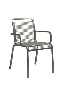 Stacking armchair Oskar aluminum graphite with rope sand