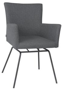 Armchair Artus VIP frame stainless steel anthracite with cover outdoor fabric Dessin crystal anthracite
