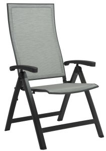 Folding armchair Kari aluminum anthracite with cover textilen silver & aluminum armrests anthracite