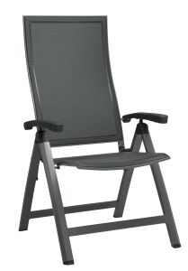 Folding armchair Kari aluminum graphite with cover textilen silver grey & aluminum armrests anthracite