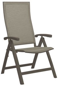 Folding armchair Kari aluminum taupe with cover textilen cashmere & aluminum armrests taupe