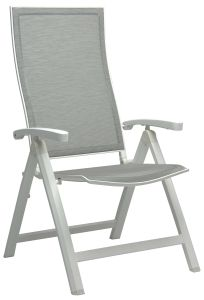 Folding armchair Kari aluminum white with cover textilen silver & aluminum armrests white