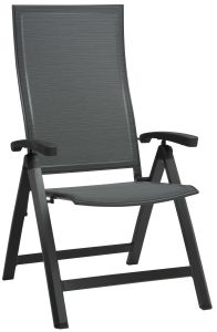 Folding armchair Kari aluminum anthracite with cover textilen carbon & aluminum armrests anthracite