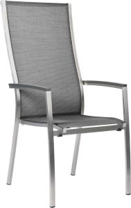 Stacking armchair Cardiff high stainless steel with cover textilen silver grey & aluminum armrests anthracite