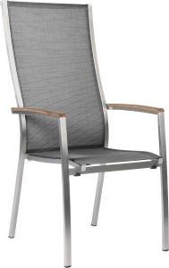 Stacking armchair Cardiff high stainless steel with cover textilen silver grey & teak armrests FSC®-certified