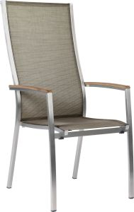 Stacking armchair Cardiff high stainless steel with cover textilen taupe & teak armrests FSC®-certified