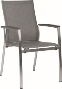 Stacking armchair Mika stainless steel with cover textilen linen grey & aluminum armrests anthracite