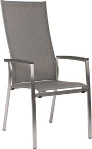 Stacking armchair Mika high stainless steel with cover textilen linen grey & aluminum armrests anthracite
