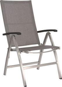 Folding armchair Mika stainless steel with textilen linen grey & aluminum armrests anthracite
