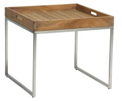 Tray table stainless steel with teak tray 50x50 cm