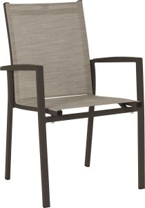 Stacking armchair New Levanto aluminum taupe with textilen cashmere & aluminum armrests taupe
