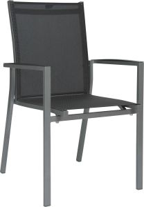 Stacking armchair New Levanto aluminum graphite with textilen silver grey & aluminum armrests anthracite