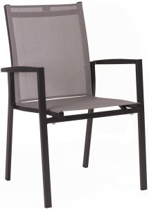 Stacking armchair New Levanto aluminum anthracite with textilen silver & aluminum armrests anthracite