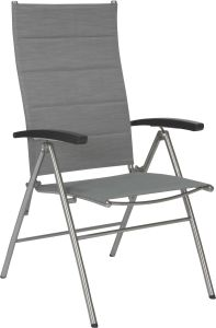 Folding armchair Xenia stainless steel cover textilen silver padded und aluminum armrests anthracite
