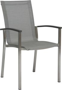 Stacking armchair Evoee stainless steel with cover textilen silver & aluminum armrests anthracite