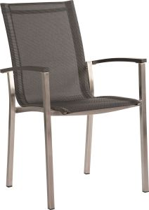 Stacking armchair Evoee stainless steel with cover textilen silver grey & aluminum armrests anthracite