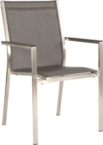 Stacking armchair Cardiff stainless steel with cover textilen silver grey & aluminum armrests anthracite