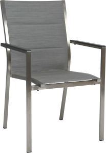 Stacking armchair Cardiff stainless steel with cover textilen silver padded & aluminum armrests anthracite