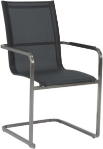 Cantilever  Evoee stainless steel with cover textilen silver grey & aluminum armrests anthracite