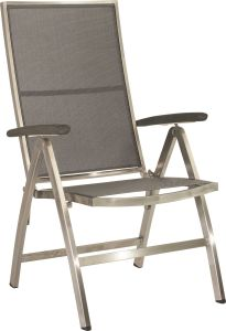 Folding armchair Cardiff stainless steel with cover textilen silver grey & aluminum armrests anthracite