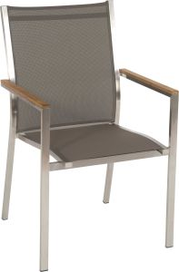Stacking armchair Cardiff stainless steel with cover  textilen taupe & teak armrests FSC®-certified