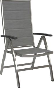 Folding armchair Cardiff stainless steel with cover textilen silver padded & aluminum armrests anthracite