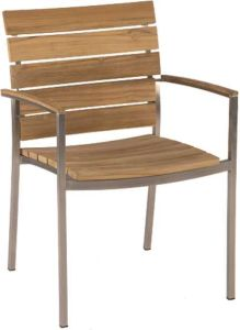 Stacking armchair Savona stainless steel with teak slats und teak armrests FSC®-certified