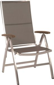 Folding armchair Cardiff stainless steel with cover textilen taupe & teak armrests FSC®-certified