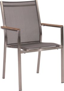 Stacking armchair Cardiff stainless steel with cover textilen silver grey & teak armrests FSC®-certified