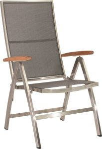 Folding armchair Cardiff stainless steel with cover textilen silver grey & teak armrests FSC®-certified