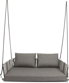 Swing 2 seater Space aluminium anthracite with belt dark grey & light grey and cushions Dessin silk grey