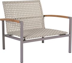 Lounge armchair Lucy aluminum taupe with belt naturalal & teak armrests