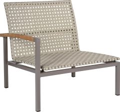 Lounge side element Lucy aluminum taupe with belt naturalal natural & teak armrest right