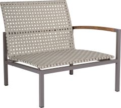 Lounge side element Lucy aluminum taupe with belt naturalal natural & teak armrest left