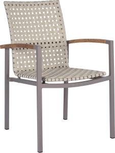 Stacking armchair Lucy aluminum taupe with straps natural & teak armrests