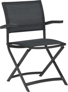 Balcony folding armchair Camillo aluminium anthracite with textilen carbon