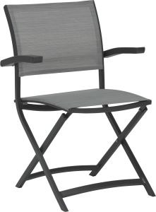 Balcony folding armchair Camillo aluminum anthracite with cover textilen silver