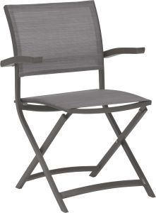 Balcony folding armchair Camillo aluminum graphite with cover textilen silver grey