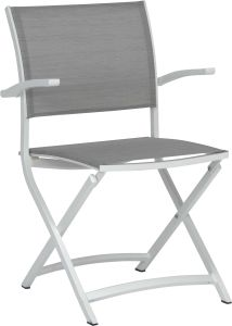 Balcony folding armchair Camillo aluminum white with cover textilen silver