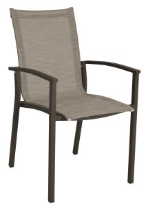 Stacking armchair Evoee aluminum taupe with cover textilen cashmere & aluminum armrests taupe