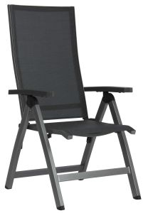 Folding armchair New Top aluminum graphite with cover textilen silver grey