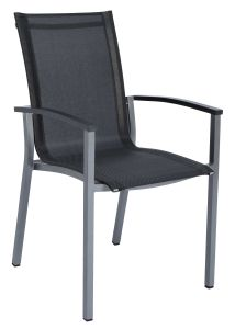 Stacking armchair Evoee aluminum graphite with cover silver grey & aluminum armrests anthracite