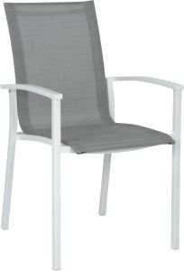 Stacking armchair Evoee aluminum white with cover silver & aluminum armrests white