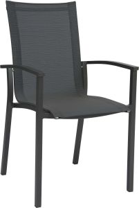 Stacking armchair Evoee aluminum anthracite with cover textilen carbon & aluminum armrests anthracite