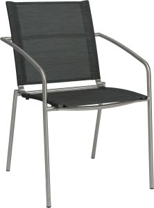 Stacking armchair Mara stainless steel with cover textilen silver grey
