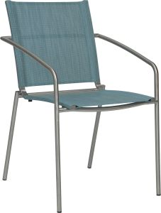 Stacking armchair Mara stainless steel with cover textilen azure